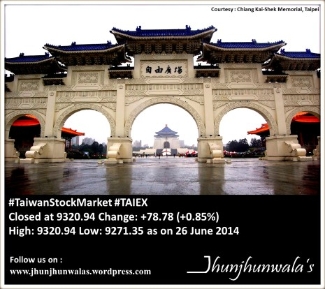 Asian Stock Market: TAIEX ,Taiwan and Shanghai Composite, China  Performance as on 26th June 2014