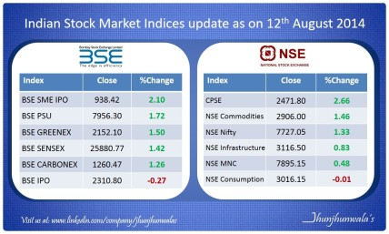 Indian Stock Market Indices performance update as on 12th August 2014