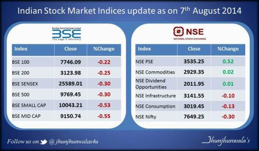Indian Stock Market Indices Update as on 7th August 2014