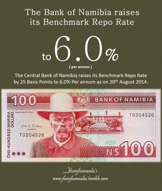 The Central Bank Of Namibia raises its Benchmark Repo Rate on 20th August 2014