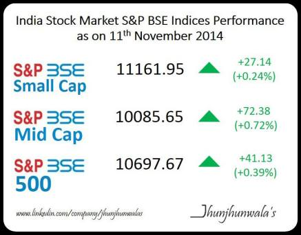 #IndiaStockMarket S&P BSE Indices Performance as on 11th November 2014.